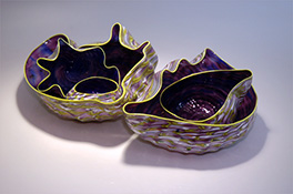 Purple Yellow Blue White Barnacle Art Glass Nesting Sets by Robert Kaindl