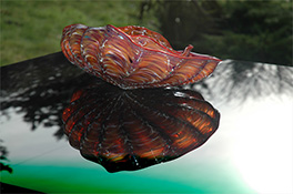 Tan Red Barnacle Art Glass Nesting Sets by Robert Kaindl