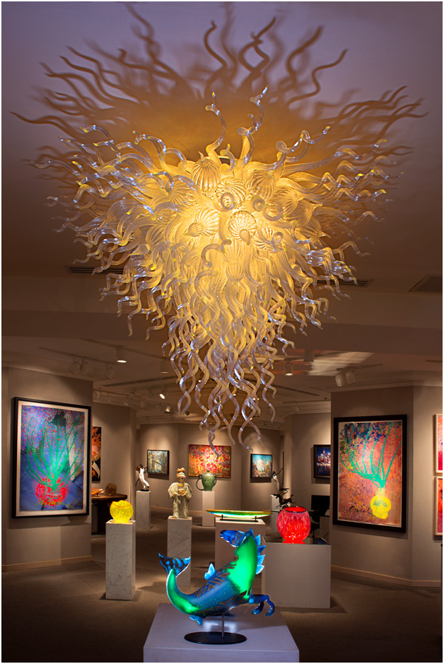 Luxury art glass chandeliers gallery robert kaindl hawaii napua gallery crystal white chandelier mozeypictures Images