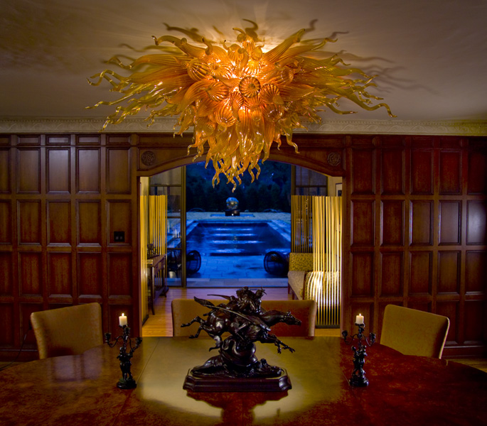 private estate tulsa oklahoma robert kaindl art glass chandelier celebration series amber gold flushmount chandelier classic