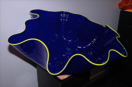 Giant Custom Blue Ostrea Bowl Luxury Art Glass by Artist Robert Kaindl